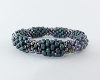 Bead Crochet Rope Bangle Color-blocked Deep Turquoise and Amethyst Colors- Item 1270b