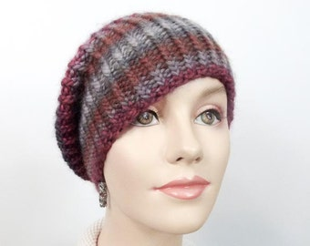 Chunky Hand Knit Hat  -  Striped Hat  or Slouchy Cloche in Red, Rust & Grey Wool - Adult Sm/Med  - Item 1272b