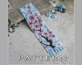 Peyote Beading Pattern : Cherry Blossom Bracelet Cuff - Instant Download