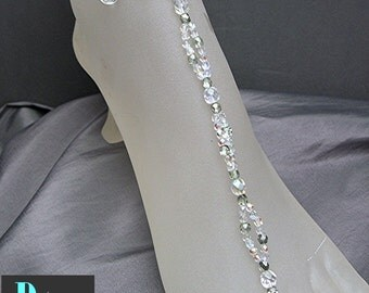 AB Clear and Mint Green Crystal Barefoot Bridal Sandals