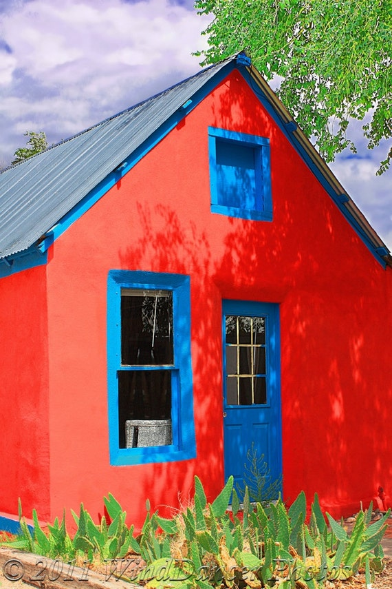 Red House Blue Door Fine Art Photo New Mexico Photo