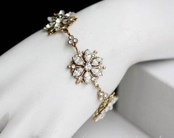 Gold Bridal Bracelet Crystal Flower Wedding bracelet  Rhinestone Wedding Jewelry Bridal Jewelry, AUBURY