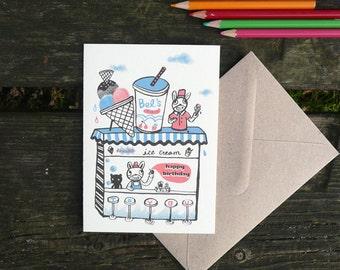 Beach ice cream- hand printed birthday card