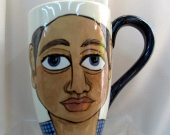 Large Beer/Coffee Mug/Cup Whimsical Humorous Hand painted Man's Face Ceramic on Etsy