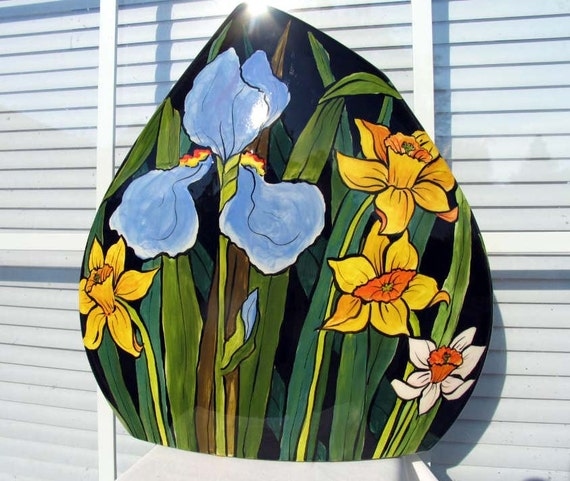 Unique Handpainted Ceramic Triangle Vase Spring Flowers Tulips Daffodils Iris