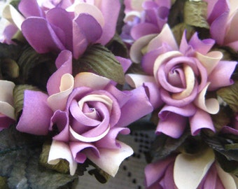 Paper Flowers 10 Millinery Country Roses  Lavender Mix