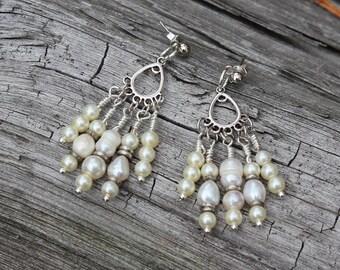 Fresh Water Pearl Chandelier Bridal Earrings
