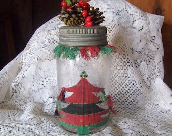 Antique Christmas Jar Wedding Shower Tree Pine Cone Berries  Vase Storage Jar Display 1930