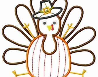 INSTANT DOWNLOAD Turkey with Pumpkin Belly and Pilgrim Hat Applique File Digital File