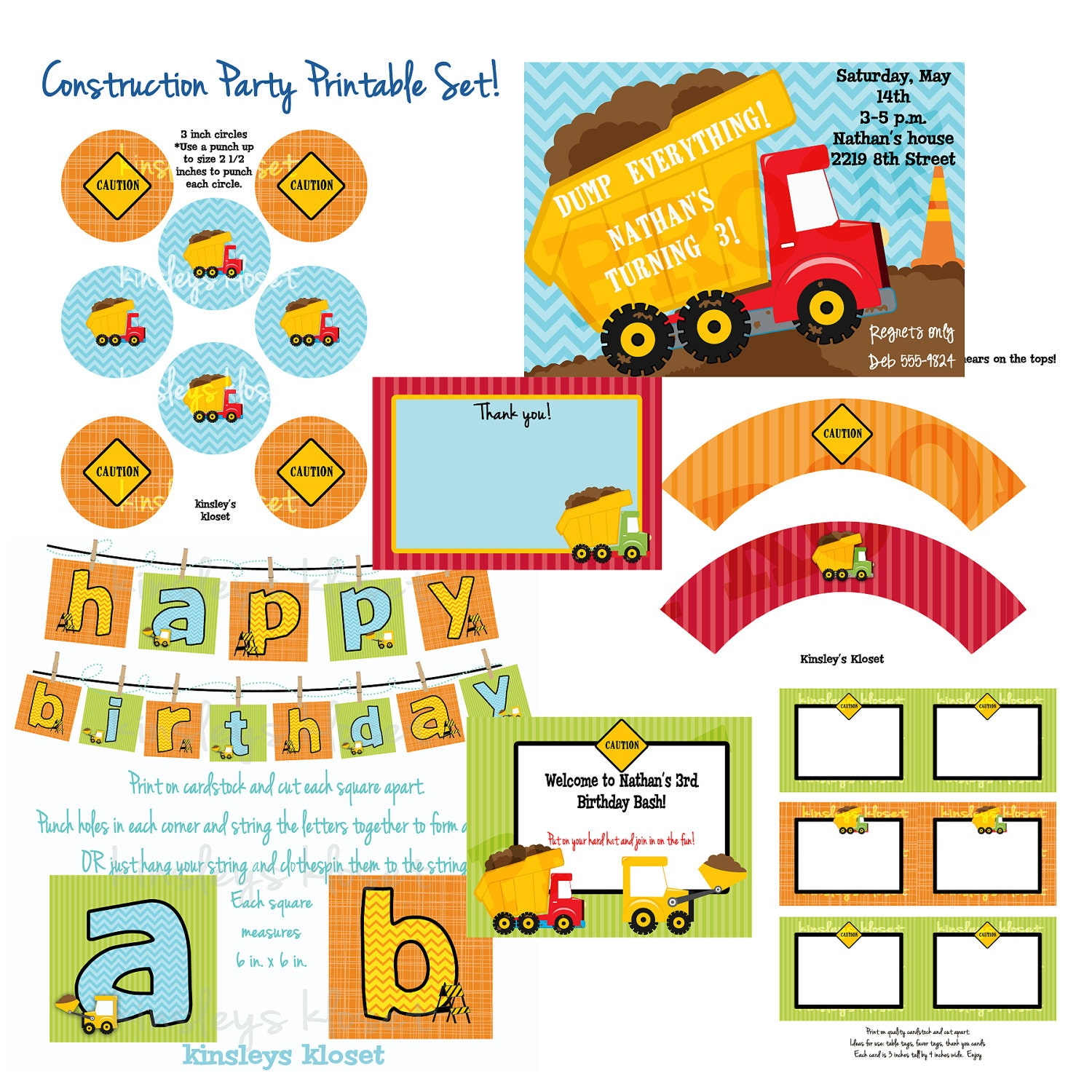 This is an image of Nifty Construction Party Printables