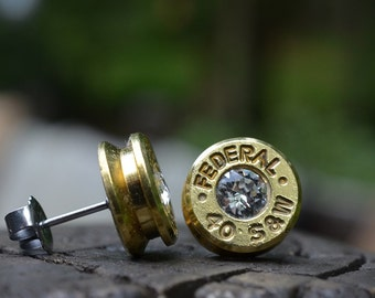 Bullet Earrings stud or post, brass/gold Federal .40 S&W with Clear Swarovski crystals