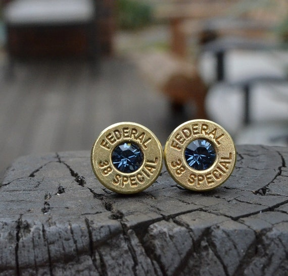 Bullet Earrings stud or post, Brass/Gold Federal .38 Special Handcrafted with Swarovski crystals