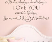 We have loved you and will always love you our whole life long...vinyl wall decal nursery wall decor