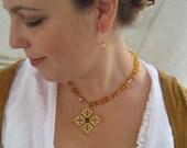 Renaissance Tudor Elizabethan Necklace & Earring Cross Amber Czech Glass Lady Annabel