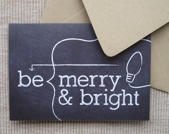 SALE - 8 Chalkboard Holiday Cards - Chalkboard Christmas Cards - Be Merry & Bright (Set of 8)