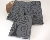 Faux Gray Suede Notebook - Flower, Tree, Circles