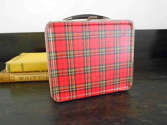 Vintage Red Plaid Lunch Box- Reseved for Pascal