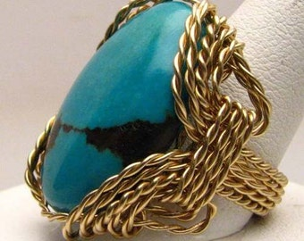 Handmade 14kt Gold Filled Wire Wrap Turquoise Ring