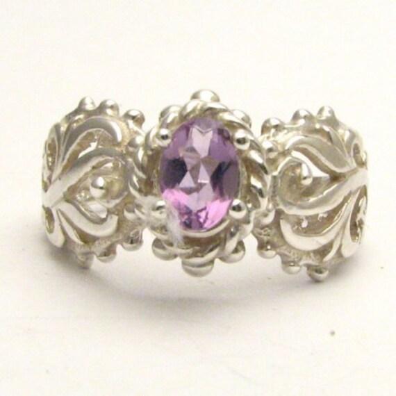 Handmade Sterling Silver Purple Amethyst Filigree Gemstone Ring