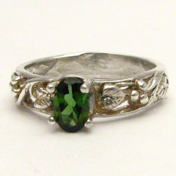 Handmade Sterling Silver Green Tourmaline Vine Ring