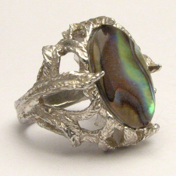 Handmade Sterling Silver Abalone Shell Ring Statement Ring Solid 925 Sterling Silver