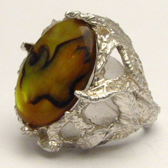 Handmade Solid Sterling Silver Gold Paua Shell Ring