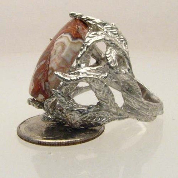 Handmade Solid Sterling Silver Rosetta Picture Stone Cab Ring