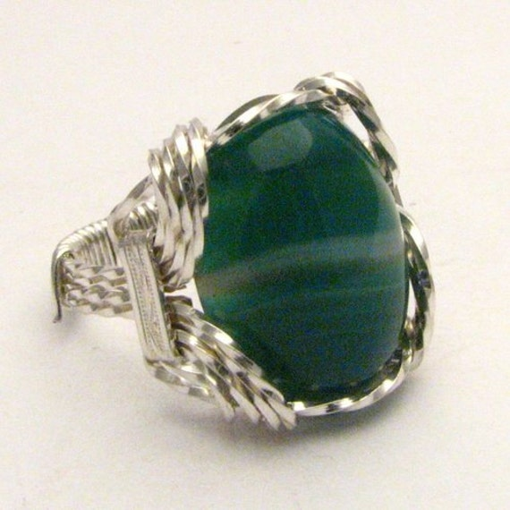 Handmade Sterling Silver Wire Wrap Green/White Ring