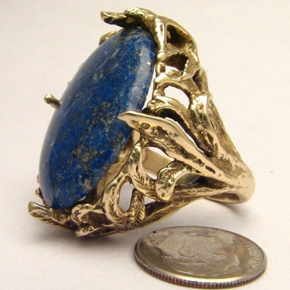 Handmade 14kt Gold Lapis Massive Claw Ring