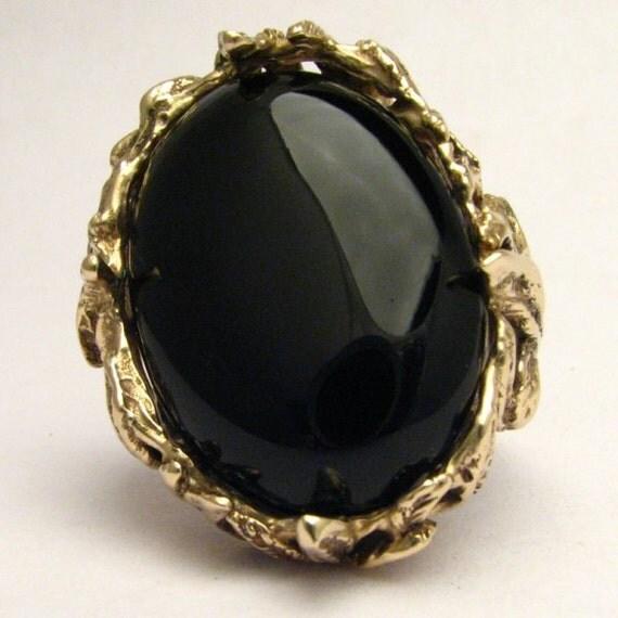 Handmade 14kt Gold Black Onyx Massive Claw Ring