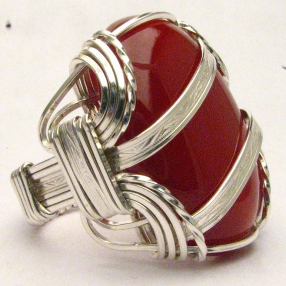 Handmade Sterling Silver Large Wire Wrap Carnelian Candy Cane Cabochon Ring
