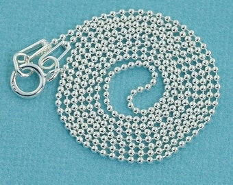 "1MM Sterling Silver Ball Chain Necklace With Springring Clasp 16"" Length"