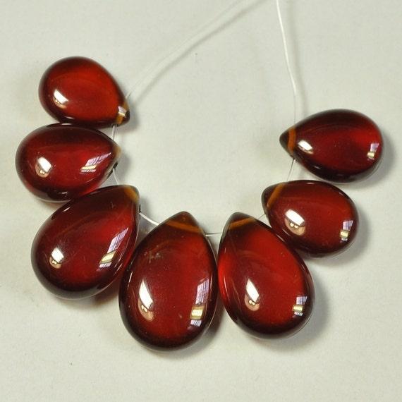 Gem Hessonite Garnet Pear Briolette Beads (7)
