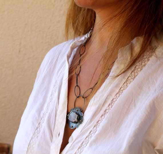 Moonstone  Necklace Botanical Statement Necklace With Oxidized Sterling Silver Thick Chain and 18k Gold Dots