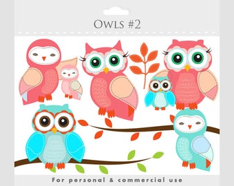 Owls clipart - whimsical owls, baby owls, birdies, branch, tree branch, leaves, cute, pink, blue, birds, for personal and commercial use