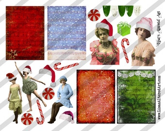 Digital Collage Sheet, Christmas Ladies, PNG File available, Christmas gals, ATC sized images,  (Sheet no. O100) Instant Download