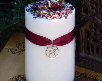 White Magick Alchemy Candle 2x3 . Transcendental White Magic, Goddess, White Light, Loving Positive Energy, Spirituality