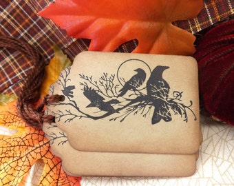 Ravens Gift Tags // Vintage Inspired // Set of 6
