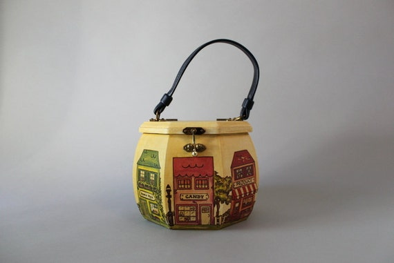 Vintage 60s Bag / 1960s Wooden Box Bag / Novelty Purse