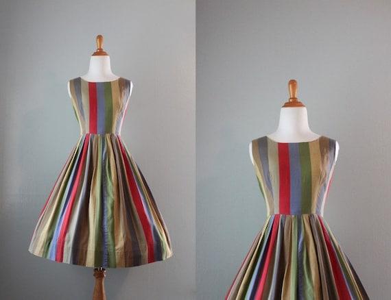 Vintage 1950s Dress / 50s Autumn Stripes Sundress / 50s Cotton Dress