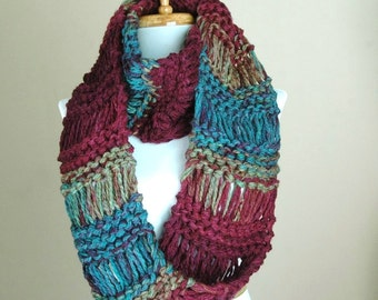 Chunky Knit Infinity Scarf, Jewel Tone Circle Scarf, Chunky Scarf, Hand Knit Infinity Scarf, Women Scarf, Knitted Winter Scarf, Vegan
