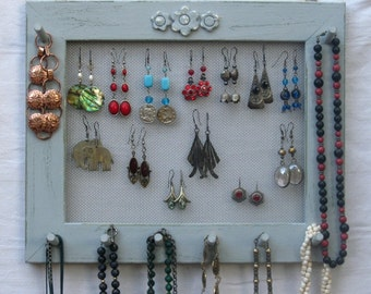 JEWELRY ORGANIZER HOLDER Widthwise gray Shabby Chic / 25 - 40 Earrings / 24 - 36 Necklaces