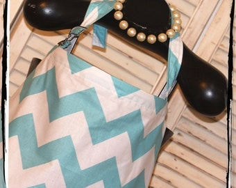 CHEVRON Sale 20% - Large Aqua Chevron Nursing Cover- HideAway with OVERALL BUCKLE-Ready 2 Ship