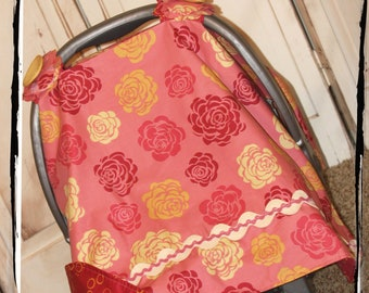 Sale!! 30% OFF- Ready 2 Ship -Coral Rose Carseat Canopy