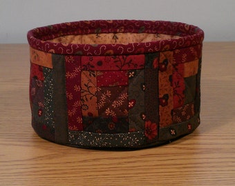 Quilted Fabric Bowl - Log Cabin - Autumn (TGbowlP)