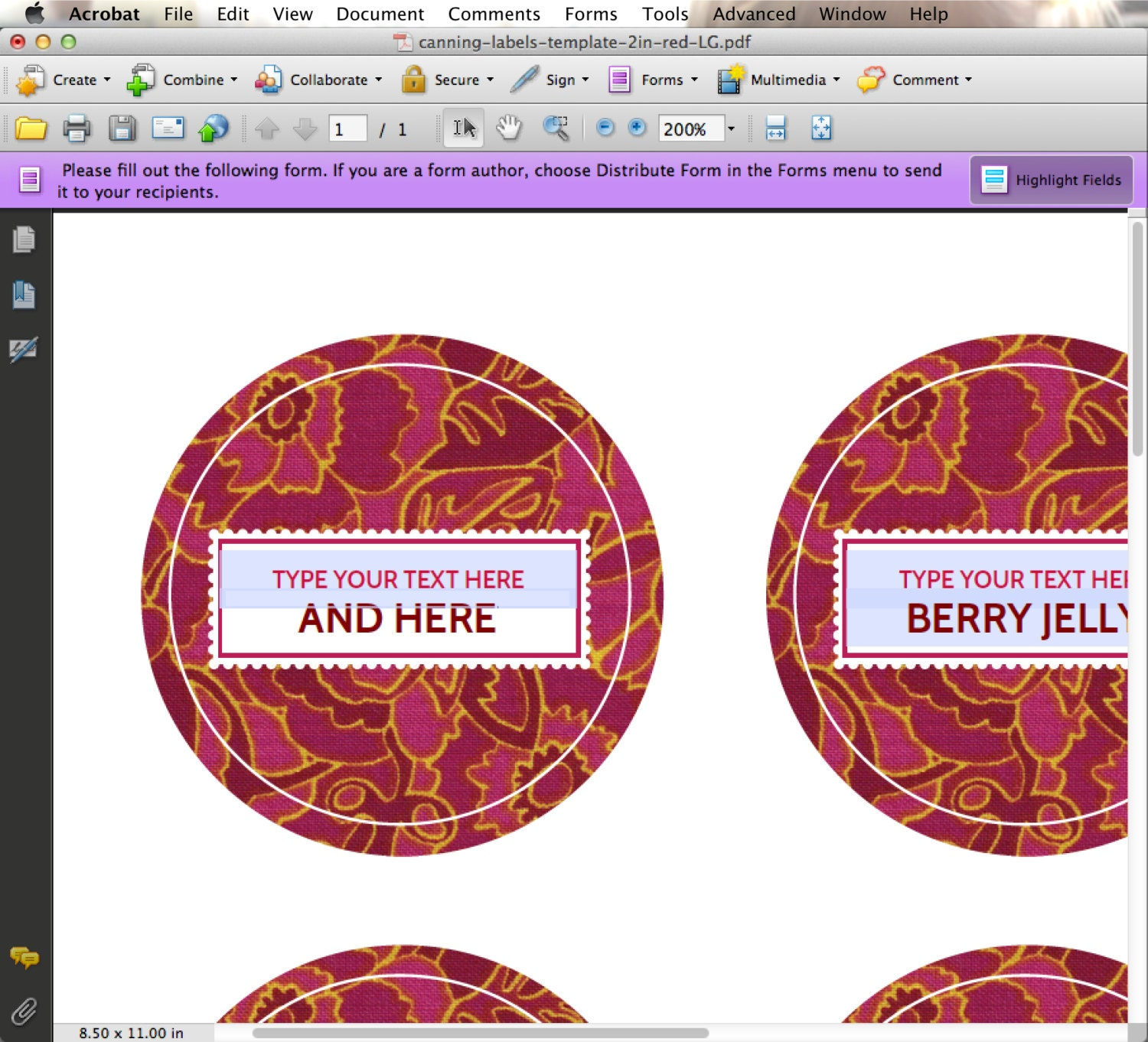 editable custom printable canning labels in red you