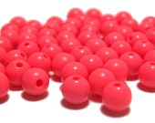 6mm Smooth Round Acrylic Beads in Bright Coral 100pcs