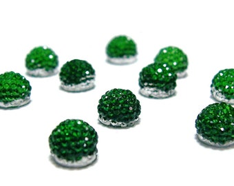 6mm flat back ball cabochon resin rhinestone half bead in emerald green