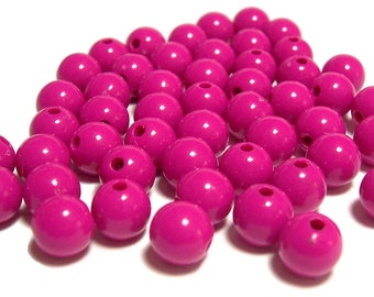 BULK QUANITITES 8mm Smooth Round Acrylic Beads in Fuchsia 200 beads