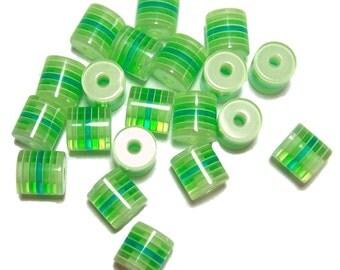10x12mm Green acrylic barrel beads